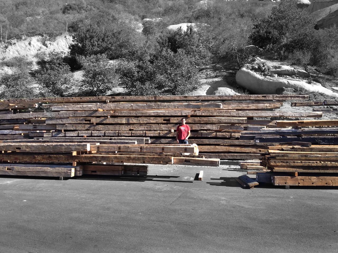 Standing in front of a stack of reclaimed barn beams